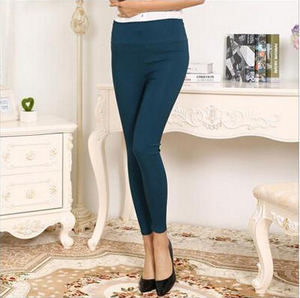 Nine points tall waist candy color elastic woven pants wholesale
