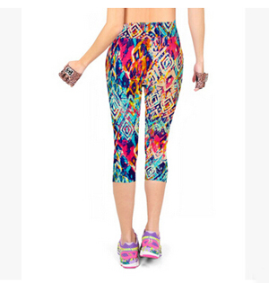 Printed color women 7 minutes leggings wholesale