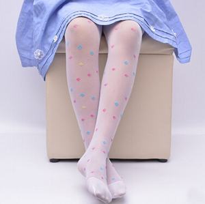 Ultra-thin core-spun yarn clovers tights girl children legging stocking wholesale