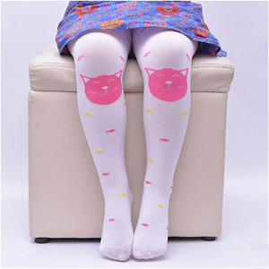 Candy color childrens stockings cat printed jacquard girls silk socks wholesale