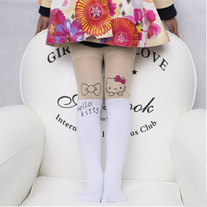 Girl cartoon printing fake child stitching stretch bottoming pantyhose wholesale