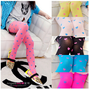 Velvet dot children love pattern girls tights wholesale