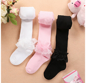 Cotton thick children dancing socks lace tights wholesale
