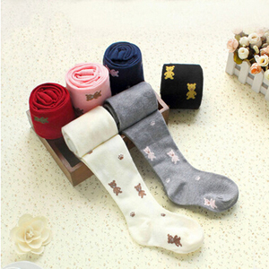Baby bear pattern embroidered cotton tights wholesale