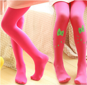 Velvet children kitty pattern pantyhose wholesale