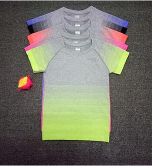 Gradient round collar female movement T-shirt wholesale