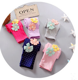 Baby girl dot two little flower cotton leggings wholesale