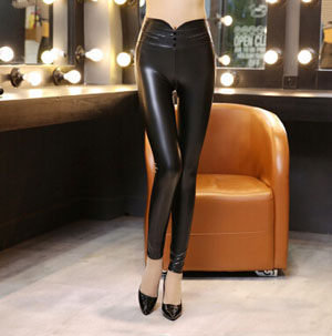 High elastic waist female outside the three buckles leather pants wholesale