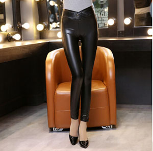 V design female tall waist button outer wear leather pants wholesale