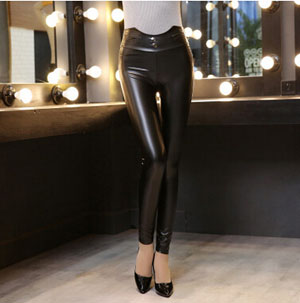 Female thin models little tight black leather nine points pant wholesale