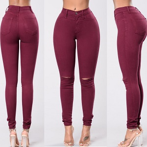 Wholesale hole color elastic jeans leggings woman