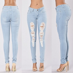 Wholesale fashion hole elastic jeans leggings woman