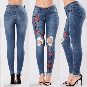 Wholesale fashion hole embroidery stretch jeans female