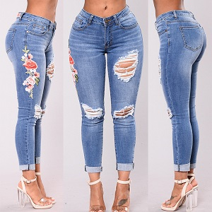 Wholesale fashion hole rose embroidery jeans leggings women