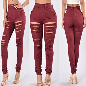 Wholesale hole color elastic jeans woman