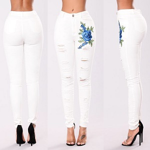Wholesale embroidery hole white stretch cowboy woman