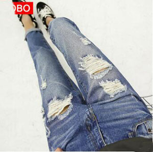 Hole straight jeans female pant wholesale
