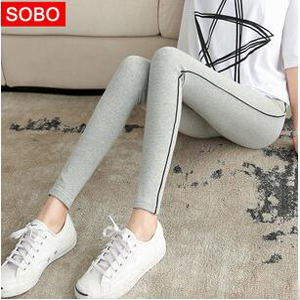 Side stripe female cotton leggings wholesale