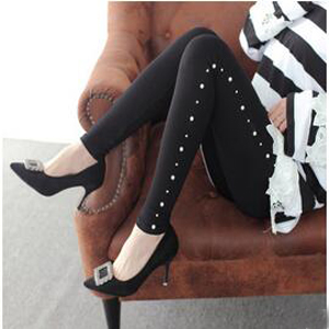 Female pearls show thin elastic leggings wholesale