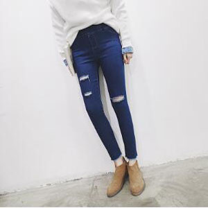 Knee hole female stretch jeans wholesale