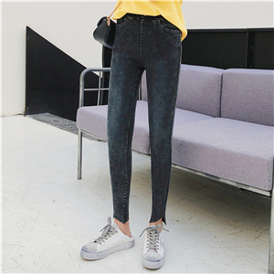 High waist slim skinny feet black cheap pants