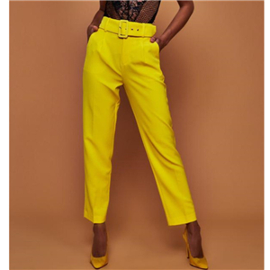 High waist solid color with belt nine points straight trousers