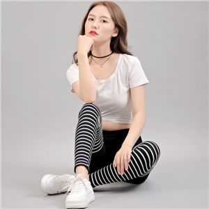 Cotton stitching circle stripe stretch feet trousers