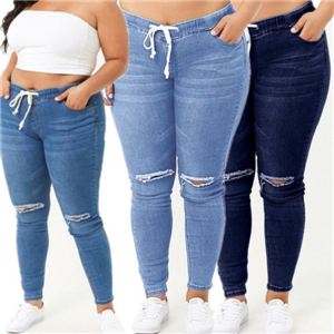 Rubber waist large size jeans cheap from China