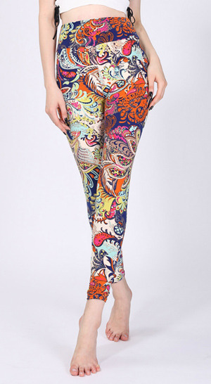 yoga print leggings high waist sport leggings