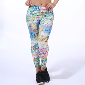 world map beautiful head of milk silk leggings