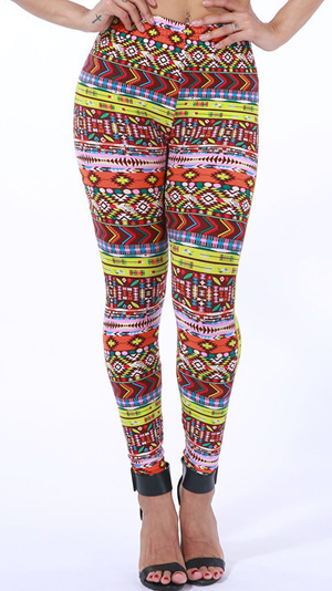 orange geometric print leggings wholesale