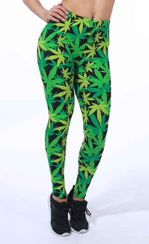 green maple leaf spring print leggings