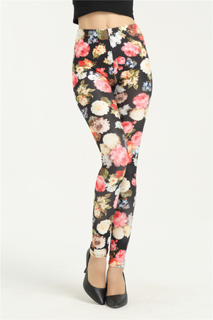 color red peony print leggings fashion summer pants