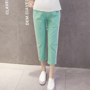 Stripe parallel bar casual maternity pants