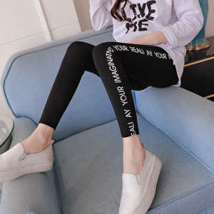 High-elasticity letter printed maternity leggings