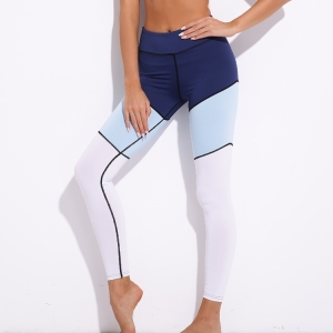 High waist color stitching yoga leggings