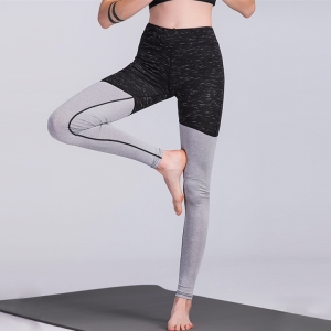 Solid color stitching hips yoga leggings
