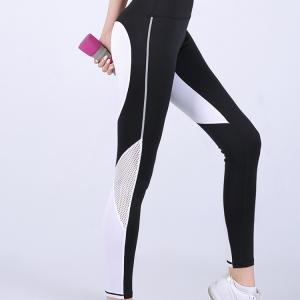 Love black and white mosaic stitching breathable yoga pants