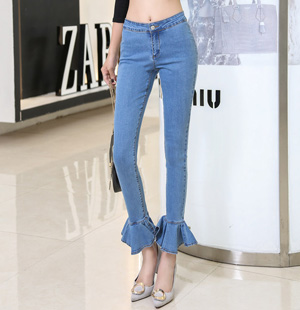 Nine points pencil pants jeans female falbala ankle