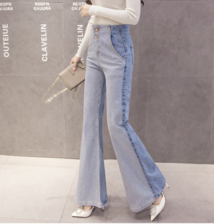 High waist jeans female splicing wide-legged flares
