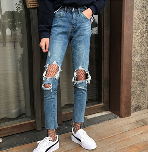 Knee-breaking personality jeans straight pants