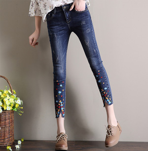 Wholesale high waist flower embroidery edgy jeans