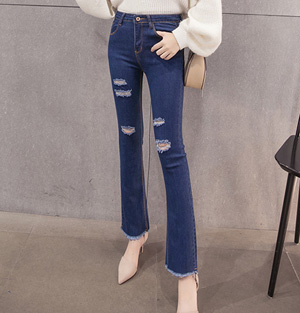 Wholesale hole jeans women leggings flared pants