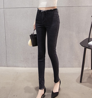 Wholesale sanding high waist denim edge pencil pants
