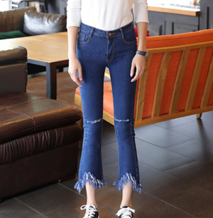 Wholesale high waist cropped fringe raw wide leg jeans