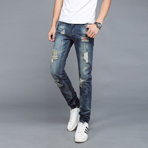 China cheap hole slim straight jeans
