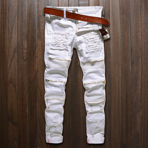 Hole slim elasticity multiple zipper motorcycle jeans