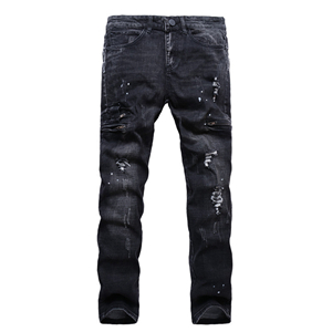Cheap mid-waist straight washed jeans
