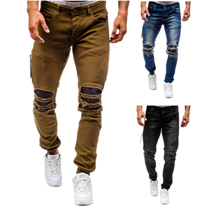 Solid color hole slim large size cheap jeans