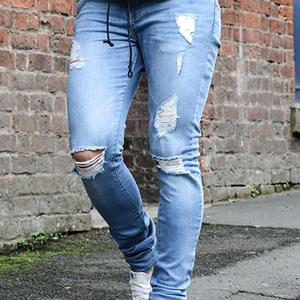 Solid color waist tight denim pants